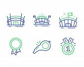 Whistle, Success And Sports Arena Line Icons Set. Arena, Approved Signs. Kick-off, Award Reward, Eve poster