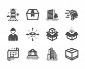 Set Of Industrial Icons, Such As Package Box, Engineer, Get Box, Buildings, Push Cart, Packing Boxes poster