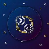 White And Yellow Line Cryptocurrency Exchange Icon On Dark Blue Background. Bitcoin To Dash Exchange poster