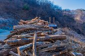 Logging Truck Sitting On Mountain Road In Front Of Large Pile Of Cut Logs. poster