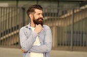 What Is On His Mind. Pensive Hipster Thinking Pleasant Thoughts. Man Bearded Hipster Urban Backgroun poster