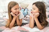 Dont Stop Smiling Everyday. Happy Children Smiling. Smiling Girls Relax On Bed. Childrens Dentist. K poster