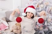 Eye-catching Sequin Balls. Little Santa Hold Christmas Tree Balls. Happy Child Celebrate Xmas And Ne poster