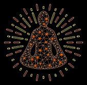 Flare Mesh Yoga Meditation With Sparkle Effect. Abstract Illuminated Model Of Yoga Meditation Icon.  poster