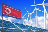 Democratic Peoples Republic Of Korea (north Korea) Solar And Wind Energy, Renewable Energy Concept W poster