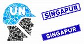 Mosaic United Nations Soldier Helmet Pictogram And Rectangular Singapur Seal Stamps. Flat Vector Uni poster