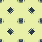 Blue Ampere Meter, Multimeter, Voltmeter Icon Isolated Seamless Pattern On Yellow Background. Instru poster
