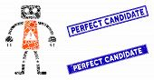 Mosaic Robot Danger Icon And Rectangular Perfect Candidate Stamps. Flat Vector Robot Danger Mosaic I poster