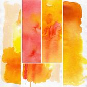 Set of abstract  watercolor hand painted background