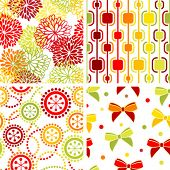 Set of stylish seamless geometrical and floral backgrounds