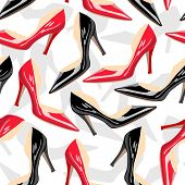 Seamless pattern with female shoes