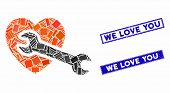 Mosaic Heart Surgery Pictogram And Rectangle We Love You Rubber Prints. Flat Vector Heart Surgery Mo poster