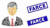 Mosaic Businessman Pictogram And Rectangular Farce Watermarks. Flat Vector Businessman Mosaic Pictog poster
