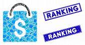 Mosaic Shopping Bag Pictogram And Rectangle Ranking Seals. Flat Vector Shopping Bag Mosaic Pictogram poster