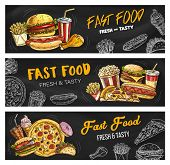 Fast Food Burgers And Sandwiches Menu, Vector Sketch Banners. Fastdood Restaurant And Foodcourt Bist poster