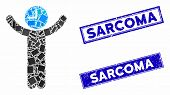 Mosaic Time Boss Pictogram And Rectangular Sarcoma Watermarks. Flat Vector Time Boss Mosaic Pictogra poster