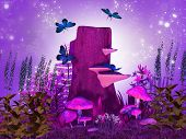 picture of fairy-mushroom  - Illustration of an enchanted night in dreamyland - JPG