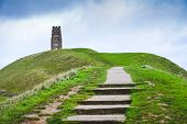 Glastonbury Tor In Somerst Uk Historical Site And Landmark In England And Believed To Be Burial Site poster