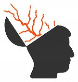 Brain Electricity Raster Icon. Flat Brain Electricity Symbol Is Isolated On A White Background. poster
