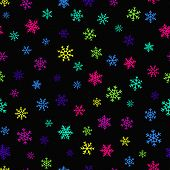 Snowflakes Seamless Pattern. Vector Background With Bright Neon Snowflakes On Black Backdrop. Funky  poster