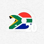Happy New Year 2020 For South Africa On Snowflake Background. Greeting South Africa With New 2020 Ye poster