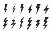 Thunder Set. Electric Flash. Thunder And Bolt Lighting Flash Icons Set poster