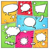 Comic Books Dialog Bubbles. Cartoon Book Superhero Scrapbook Page Template, Empty Comical Speech Clo poster