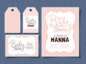 Set Of Baby Shower Invitations Design, Party Cards Decoration Love Celebration Arrival And Born Them poster