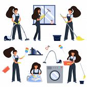 Cleaning Service Workers With Vacuum Cleaner, Washing Floor, Windows And Dishes. Female Cleaners In  poster
