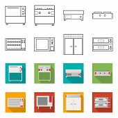 Vector Design Of Domestic And Appliances Icon. Collection Of Domestic And Furniture Vector Icon For  poster