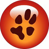 picture of paw-print  - red paw print web button or icon  - JPG
