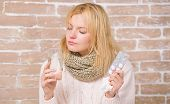 Taking Cold Medicine. Ill Woman Treating Symptoms Caused By Cold Or Flu. Medication And Increased Fl poster