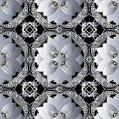 Floral Vintage Greek Vector Seamless Pattern. Ornamental Floral Grid Background. Modern Geometric Re poster