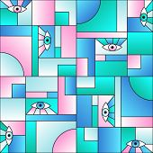 Stylish Pattern With Eyes In Geometric Shapes Grid Mondrian Avant Garde Fashion Textile Print. Patch poster