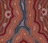 A Illustration Based On Aboriginal Style Of Dot Painting Depicting Evening