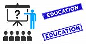Flat Vector Education Pictogram And Rectangle Education Stamps. A Simple Illustration Iconic Design  poster