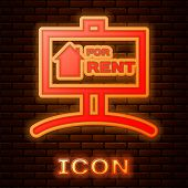 Glowing Neon Hanging Sign With Text For Rent Icon Isolated On Brick Wall Background. Signboard With  poster