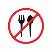 Say No To Plastic Fork And Spoon Red Prohibition Sign. Say No To Plastic Tablewares Pollution. Save  poster
