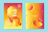 Red Fluid Brochure. Bright Vector Abstract Banner. Orange Liquid Shape. Trendy Memphis Composition.  poster