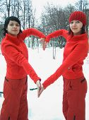 Girls In Red Show Heart