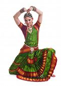 pic of bharatanatyam  - Bollywood dancer in green and orange folded dress posing as cobra - JPG