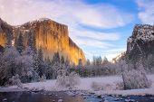 Yosemite valley in California during winter