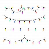 Set Of Christmas Glowing Garlands. Colorful Glow Light Bulbs On Wire Strings. Xmas Lights Decoration poster