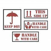 Handle With Care Icons. Package Handling Labels. This Side Up, Fragile, Keep Dry Symbol. Vector Illu poster