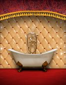 stock photo of clawfoot  - Interior of vintage style bathroom - JPG