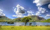 Crummock Water The Lake District England With Mountains And Blue Sky In Colourful Hdr poster
