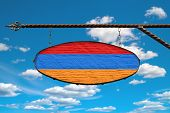 Armenia Flag On A Signboard. Oval Signboard Colors Flag Armenia Hangs On A Metal Forged Structure. T poster