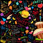 illustration of colorful food drawing on party background