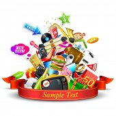illustration of heap of product with ribbon showing sale festival
