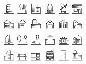Line Buildings Icons. City Building, Hotel And Store Icon. Warehouse, Industrial Building And Church poster
